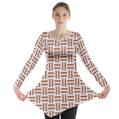 Woven1 White Marble & Rusted Metal (r) Long Sleeve Tunic