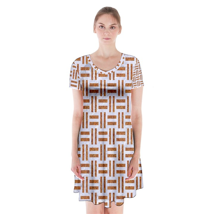 WOVEN1 WHITE MARBLE & RUSTED METAL (R) Short Sleeve V-neck Flare Dress