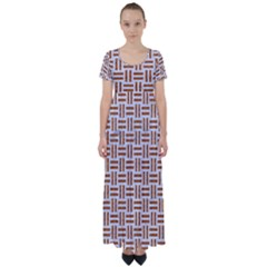 Woven1 White Marble & Rusted Metal (r) High Waist Short Sleeve Maxi Dress