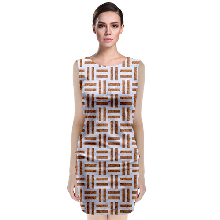 WOVEN1 WHITE MARBLE & RUSTED METAL (R) Classic Sleeveless Midi Dress