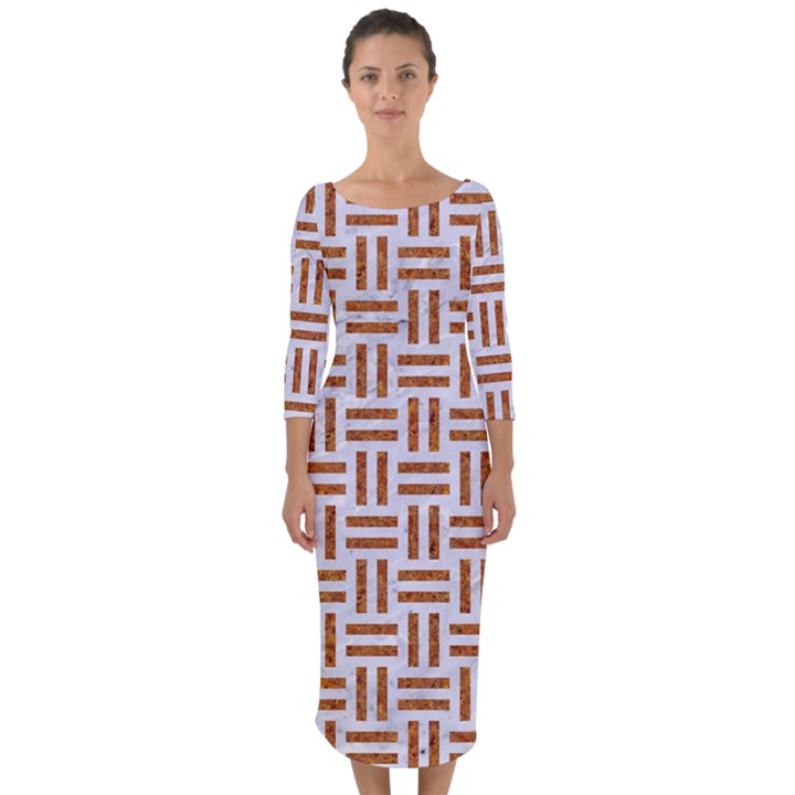 WOVEN1 WHITE MARBLE & RUSTED METAL (R) Quarter Sleeve Midi Bodycon Dress
