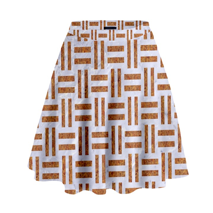 WOVEN1 WHITE MARBLE & RUSTED METAL (R) High Waist Skirt