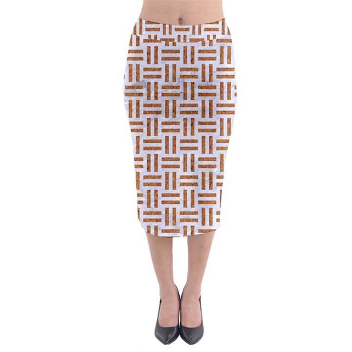 WOVEN1 WHITE MARBLE & RUSTED METAL (R) Midi Pencil Skirt