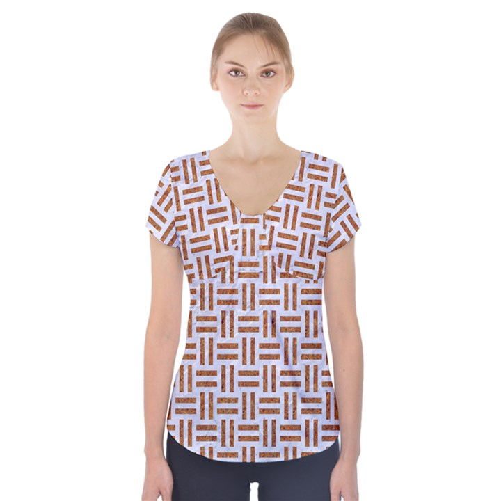 WOVEN1 WHITE MARBLE & RUSTED METAL (R) Short Sleeve Front Detail Top
