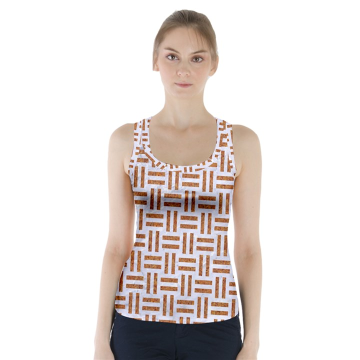 WOVEN1 WHITE MARBLE & RUSTED METAL (R) Racer Back Sports Top