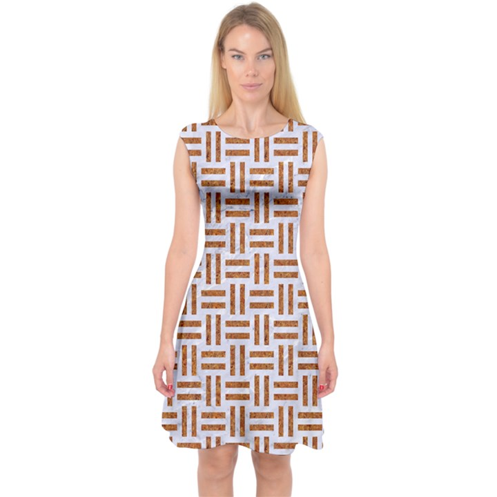WOVEN1 WHITE MARBLE & RUSTED METAL (R) Capsleeve Midi Dress