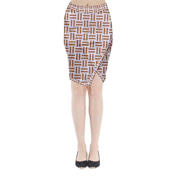 WOVEN1 WHITE MARBLE & RUSTED METAL (R) Midi Wrap Pencil Skirt