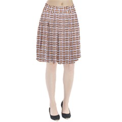Woven1 White Marble & Rusted Metal (r) Pleated Skirt