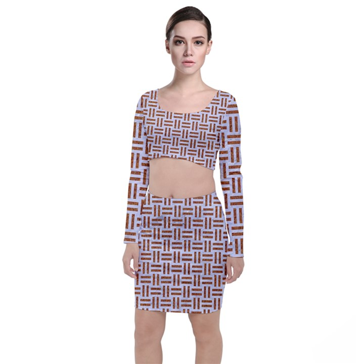 WOVEN1 WHITE MARBLE & RUSTED METAL (R) Long Sleeve Crop Top & Bodycon Skirt Set