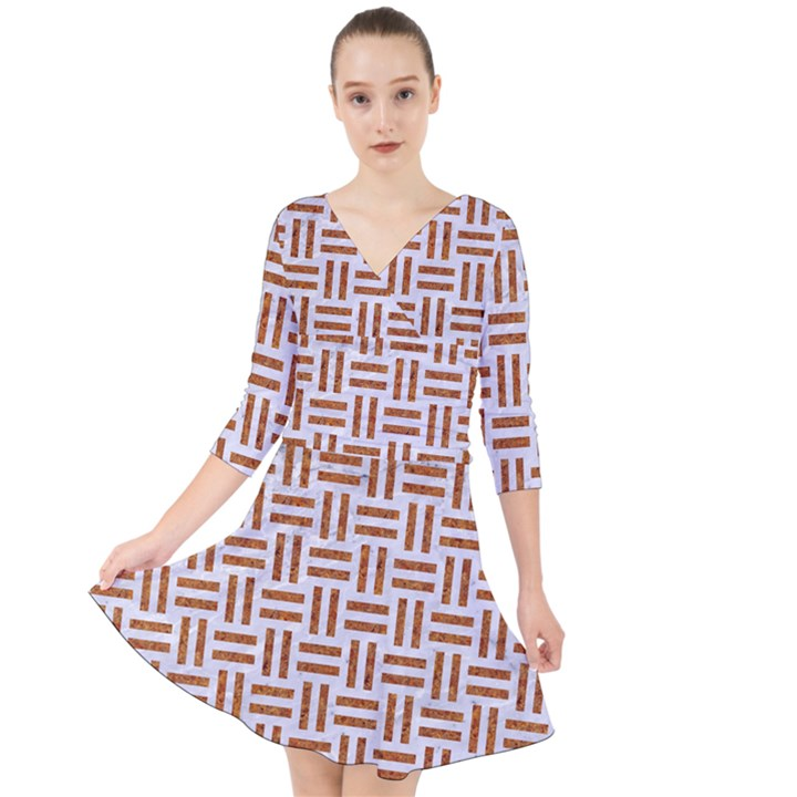 WOVEN1 WHITE MARBLE & RUSTED METAL (R) Quarter Sleeve Front Wrap Dress