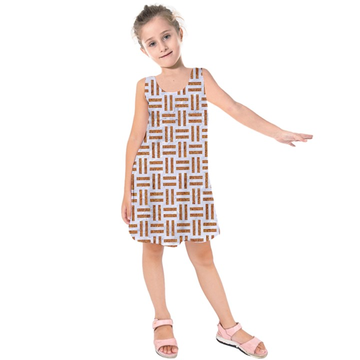 WOVEN1 WHITE MARBLE & RUSTED METAL (R) Kids  Sleeveless Dress