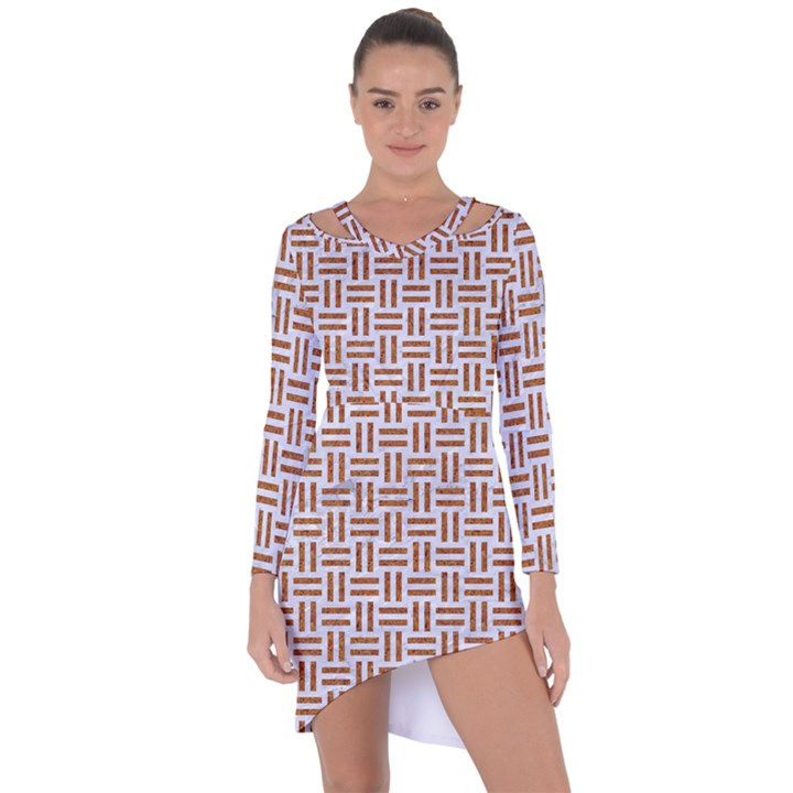 WOVEN1 WHITE MARBLE & RUSTED METAL (R) Asymmetric Cut-Out Shift Dress
