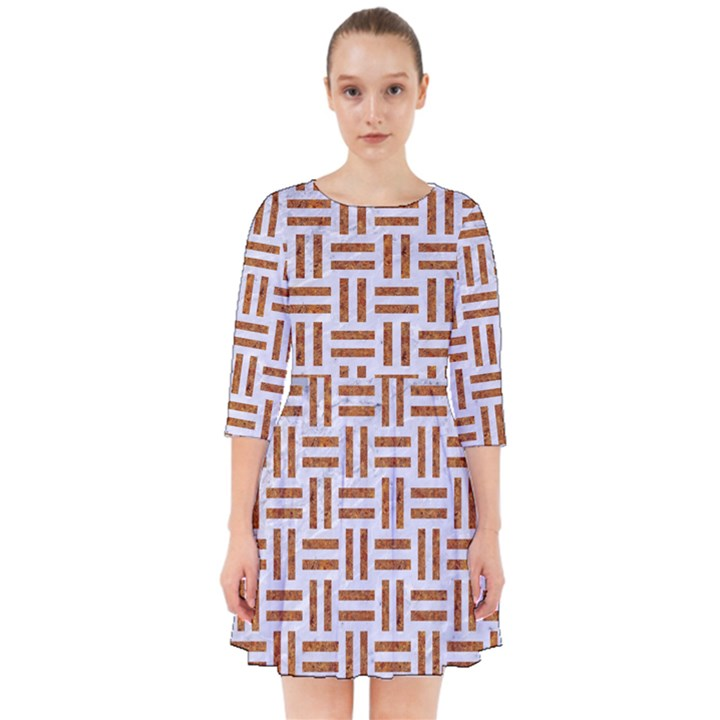 WOVEN1 WHITE MARBLE & RUSTED METAL (R) Smock Dress