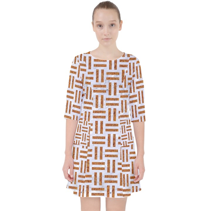 WOVEN1 WHITE MARBLE & RUSTED METAL (R) Pocket Dress
