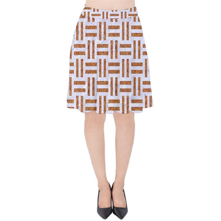 WOVEN1 WHITE MARBLE & RUSTED METAL (R) Velvet High Waist Skirt