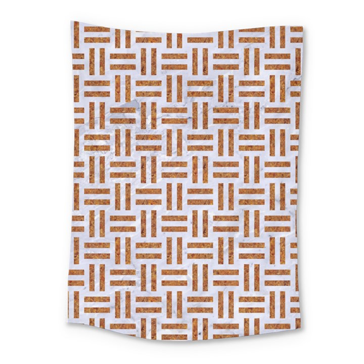 WOVEN1 WHITE MARBLE & RUSTED METAL (R) Medium Tapestry
