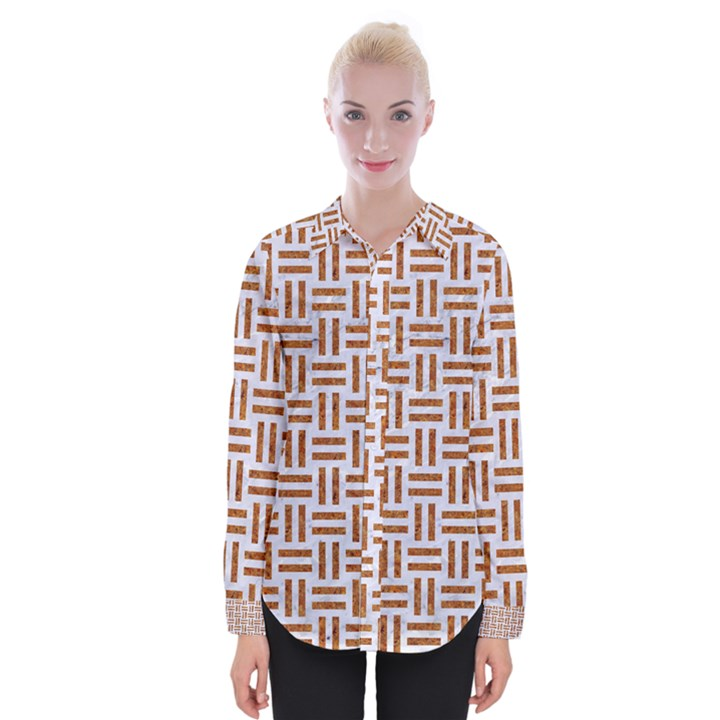 WOVEN1 WHITE MARBLE & RUSTED METAL (R) Womens Long Sleeve Shirt