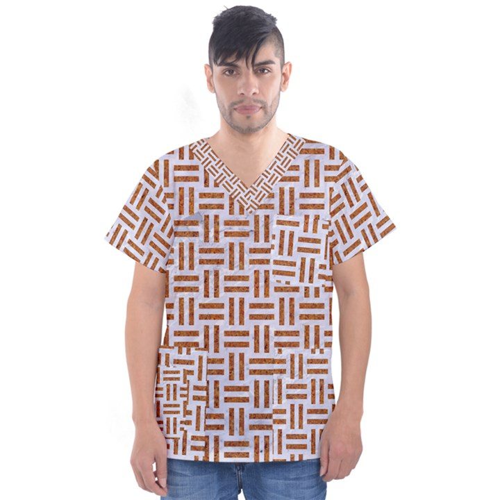 WOVEN1 WHITE MARBLE & RUSTED METAL (R) Men s V-Neck Scrub Top