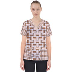 Woven1 White Marble & Rusted Metal (r) Scrub Top