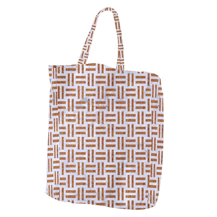 WOVEN1 WHITE MARBLE & RUSTED METAL (R) Giant Grocery Zipper Tote