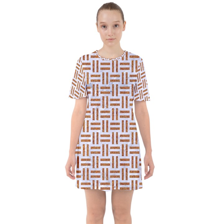 WOVEN1 WHITE MARBLE & RUSTED METAL (R) Sixties Short Sleeve Mini Dress