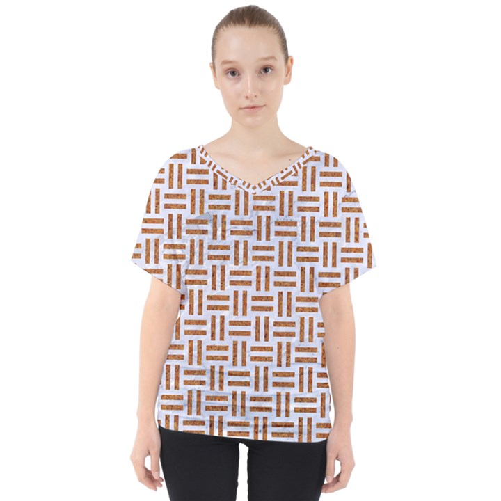WOVEN1 WHITE MARBLE & RUSTED METAL (R) V-Neck Dolman Drape Top