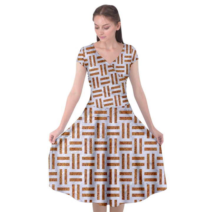 WOVEN1 WHITE MARBLE & RUSTED METAL (R) Cap Sleeve Wrap Front Dress