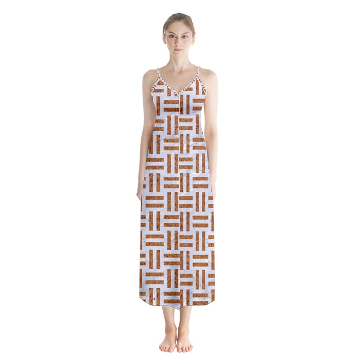 WOVEN1 WHITE MARBLE & RUSTED METAL (R) Button Up Chiffon Maxi Dress