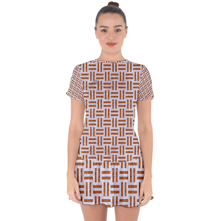 WOVEN1 WHITE MARBLE & RUSTED METAL (R) Drop Hem Mini Chiffon Dress