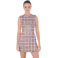 Woven1 White Marble & Rusted Metal (r) Lace Up Front Bodycon Dress