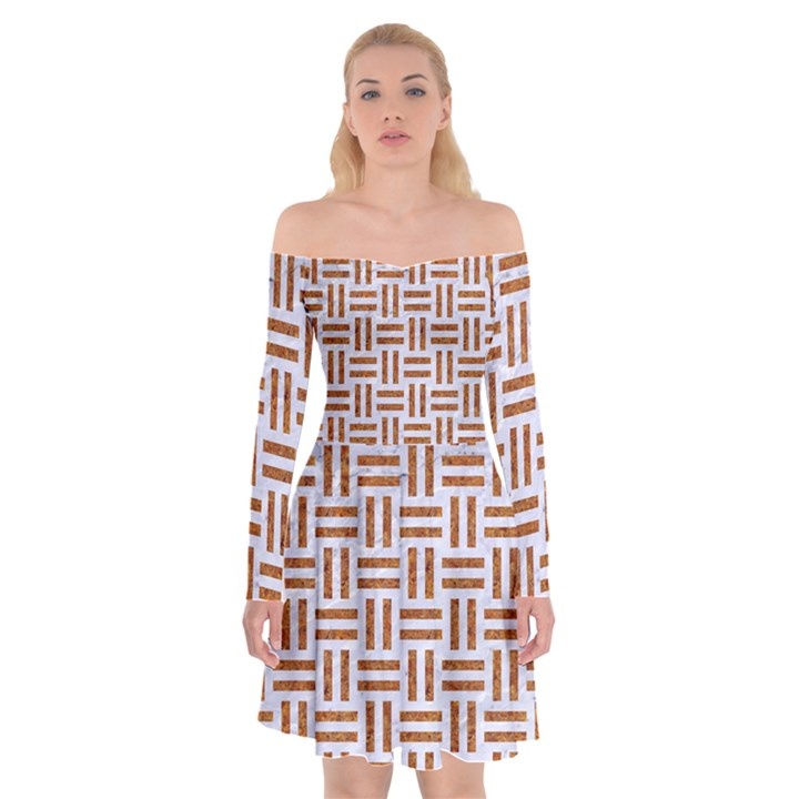 WOVEN1 WHITE MARBLE & RUSTED METAL (R) Off Shoulder Skater Dress