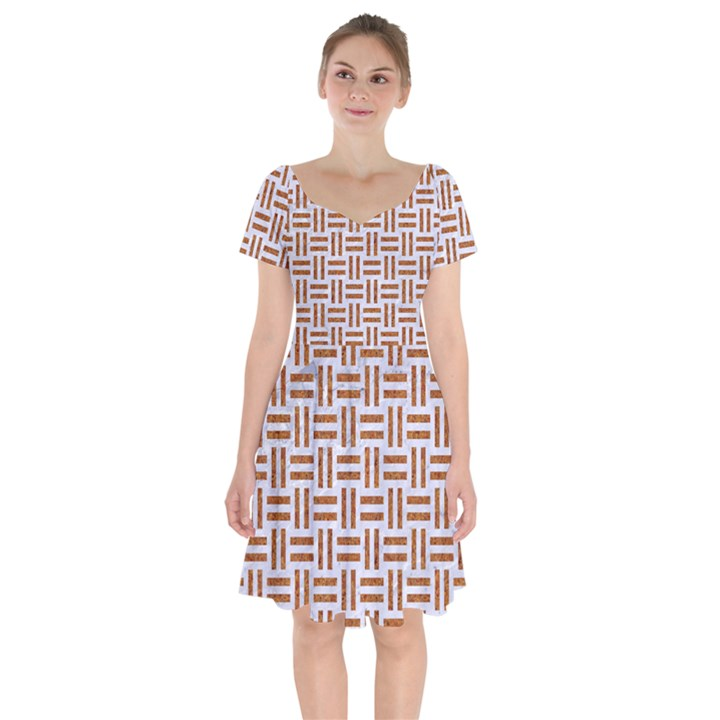 WOVEN1 WHITE MARBLE & RUSTED METAL (R) Short Sleeve Bardot Dress