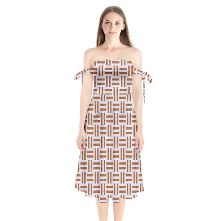 WOVEN1 WHITE MARBLE & RUSTED METAL (R) Shoulder Tie Bardot Midi Dress