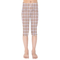 Woven1 White Marble & Rusted Metal (r) Kids  Capri Leggings