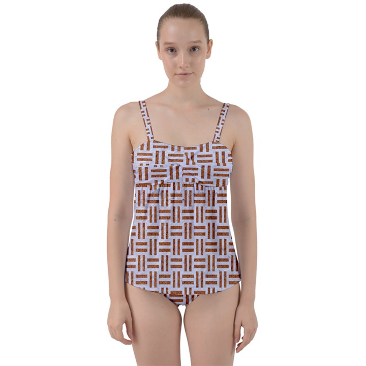 WOVEN1 WHITE MARBLE & RUSTED METAL (R) Twist Front Tankini Set