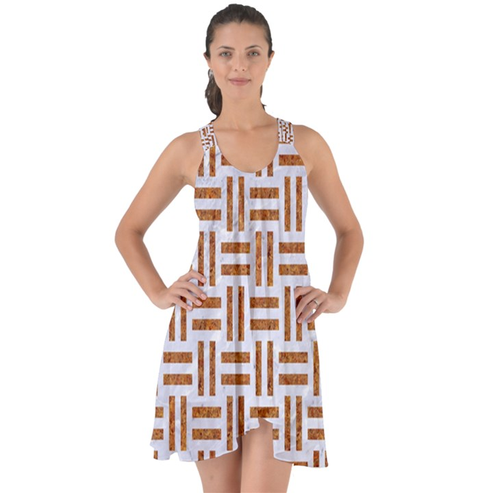 WOVEN1 WHITE MARBLE & RUSTED METAL (R) Show Some Back Chiffon Dress