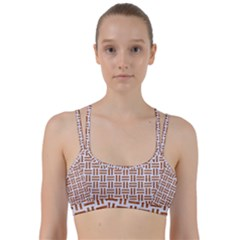 Woven1 White Marble & Rusted Metal (r) Line Them Up Sports Bra