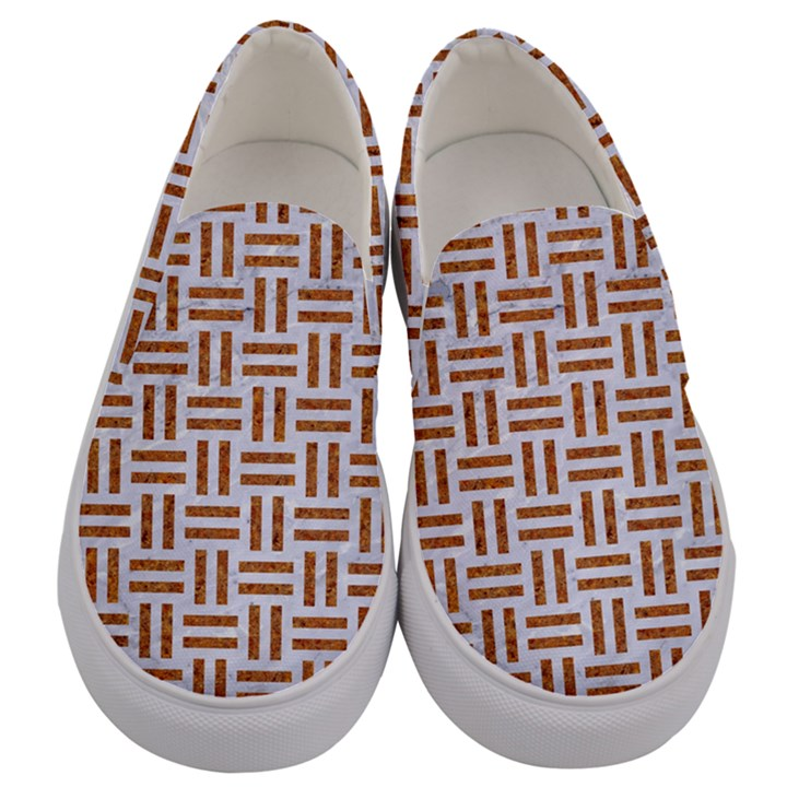WOVEN1 WHITE MARBLE & RUSTED METAL (R) Men s Canvas Slip Ons