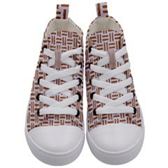 Woven1 White Marble & Rusted Metal (r) Kid s Mid Top Canvas Sneakers