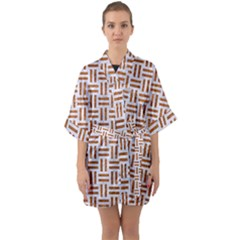 Woven1 White Marble & Rusted Metal (r) Quarter Sleeve Kimono Robe