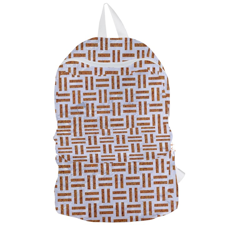 WOVEN1 WHITE MARBLE & RUSTED METAL (R) Foldable Lightweight Backpack