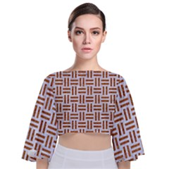 Woven1 White Marble & Rusted Metal (r) Tie Back Butterfly Sleeve Chiffon Top