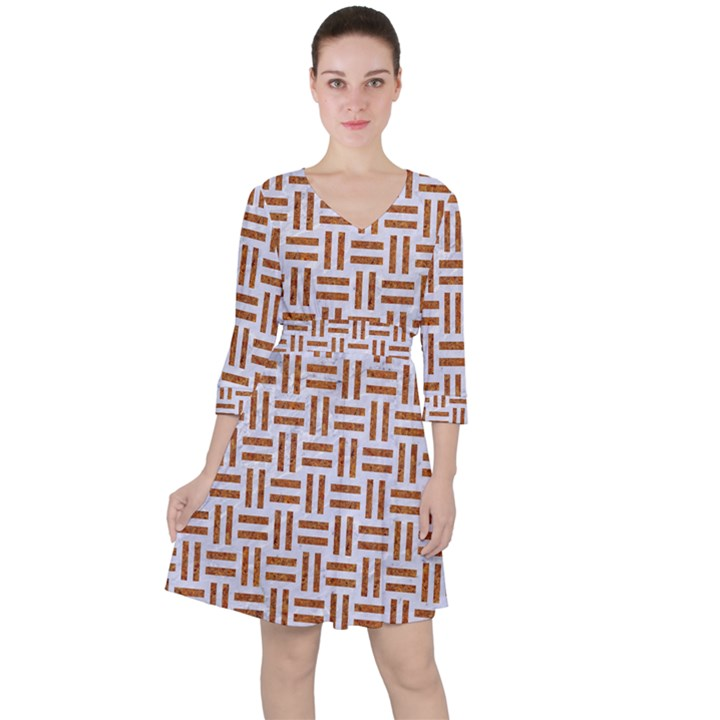 WOVEN1 WHITE MARBLE & RUSTED METAL (R) Ruffle Dress