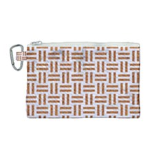 Woven1 White Marble & Rusted Metal (r) Canvas Cosmetic Bag (medium)