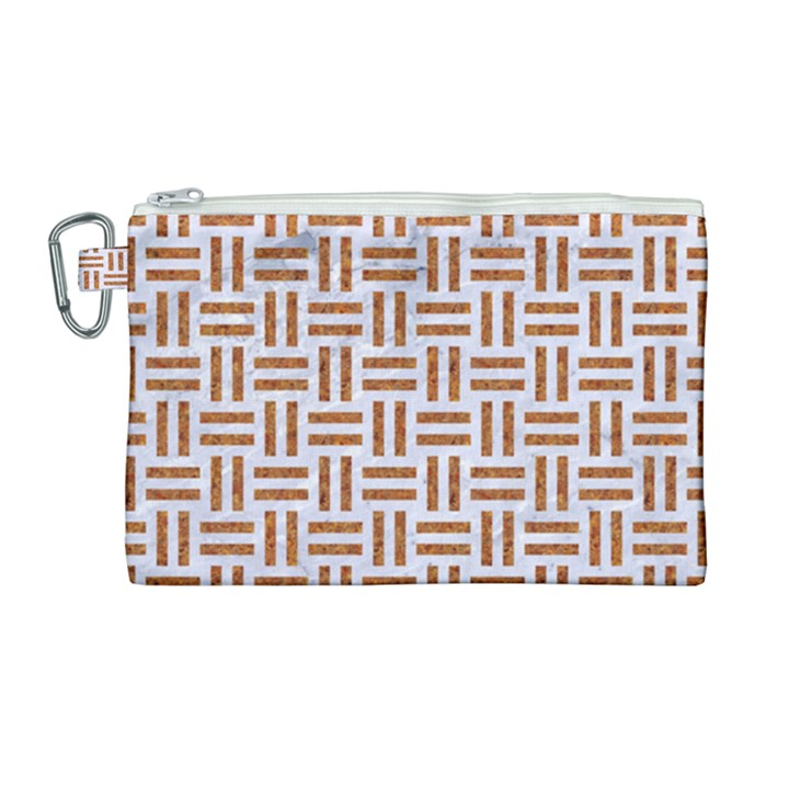 WOVEN1 WHITE MARBLE & RUSTED METAL (R) Canvas Cosmetic Bag (Large)