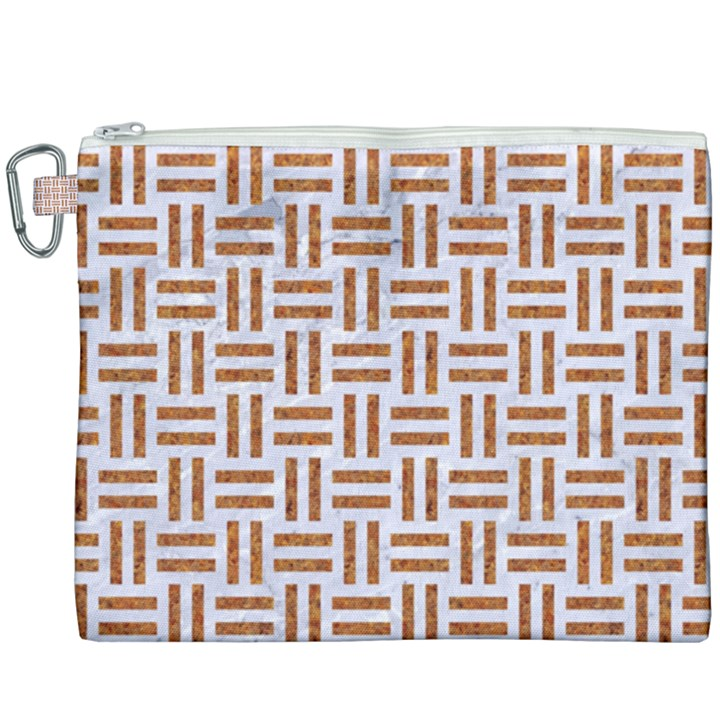 WOVEN1 WHITE MARBLE & RUSTED METAL (R) Canvas Cosmetic Bag (XXXL)