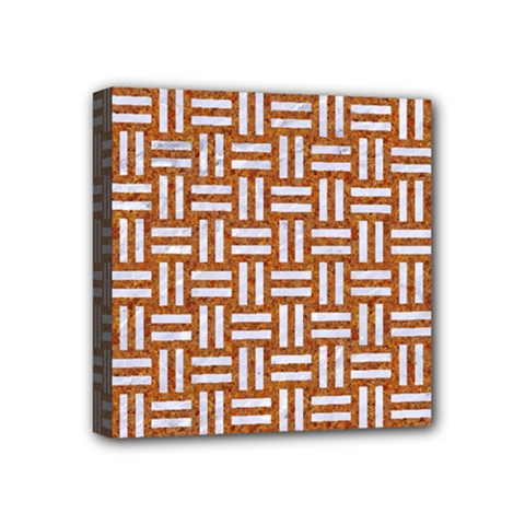 Woven1 White Marble & Rusted Metal Mini Canvas 4  X 4