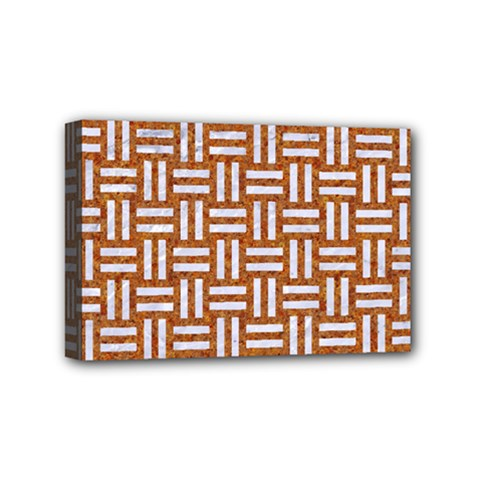 Woven1 White Marble & Rusted Metal Mini Canvas 6  X 4