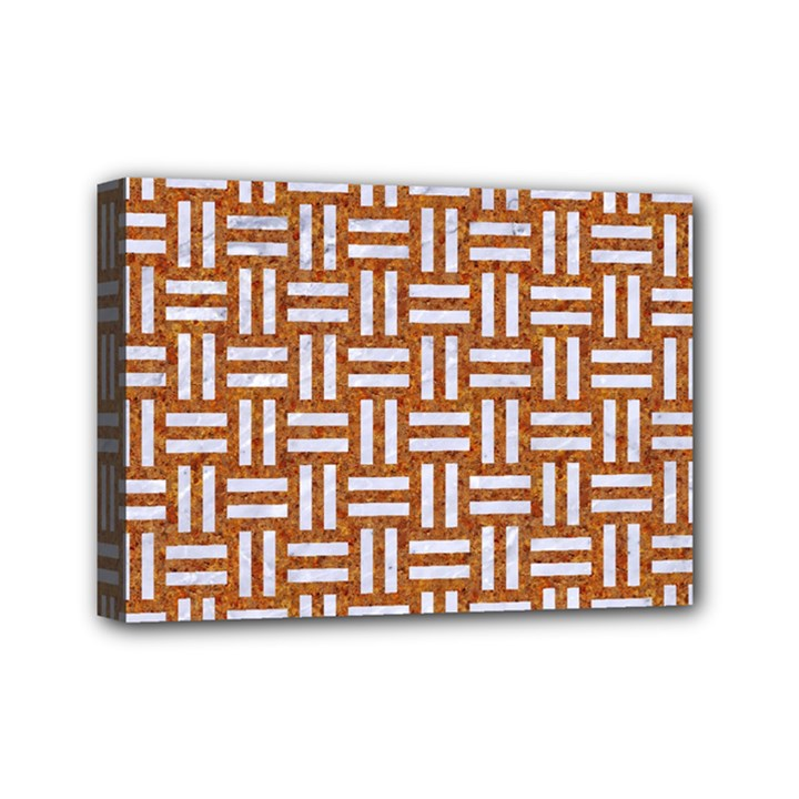 WOVEN1 WHITE MARBLE & RUSTED METAL Mini Canvas 7  x 5