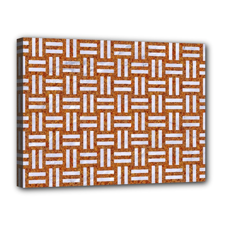 WOVEN1 WHITE MARBLE & RUSTED METAL Canvas 16  x 12